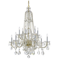 Traditional Crystal 12 Light 38 inch Polished Brass Chandelier Ceiling Light in Polished Brass (PB), Clear Hand Cut