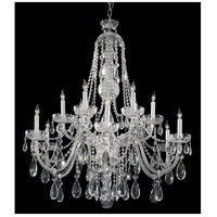 Traditional Crystal 12 Light 42 inch Polished Chrome Chandelier Ceiling Light in Hand Cut, Polished Chrome (CH)