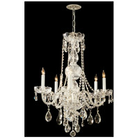 Traditional Crystal 5 Light 22 inch Polished Brass Chandelier Ceiling Light in Hand Cut, Polished Brass (PB)