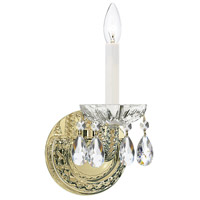 Crystorama 1121-PB-CL-S Traditional Crystal 1 Light 5 inch Polished Brass Wall Sconce Wall Light in Polished Brass (PB), Clear Swarovski Strass
