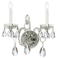 Crystorama 1122-CH-CL-S Traditional Crystal 2 Light 14 inch Polished Chrome Wall Sconce Wall Light in Polished Chrome (CH), Clear Swarovski Strass