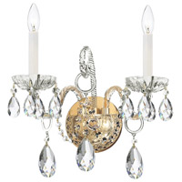Crystorama 1122-PB-CL-SAQ Traditional Crystal 2 Light 14 inch Polished Brass Wall Sconce Wall Light in Swarovski Spectra (SAQ), Polished Brass (PB)