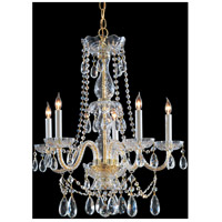 Crystorama Traditional Crystal 5 Light Chandelier in Polished Brass with Swarovski Spectra Crystals 1125-PB-CL-SAQ