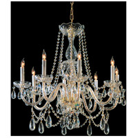 Traditional Crystal 8 Light 26 inch Polished Brass Chandelier Ceiling Light in Clear Swarovski Strass