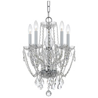Traditional Crystal 5 Light 14 inch Polished Chrome Mini Chandelier Ceiling Light in Polished Chrome (CH), Clear Swarovski Strass