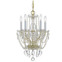 Traditional Crystal 5 Light 14 inch Polished Brass Mini Chandelier Ceiling Light in Hand Cut, Polished Brass (PB)