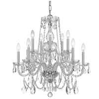 Traditional Crystal 10 Light 26 inch Polished Chrome Chandelier Ceiling Light in Polished Chrome (CH), 5, Clear Swarovski Strass