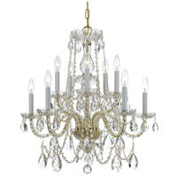 Traditional Crystal 10 Light 26 inch Polished Brass Chandelier Ceiling Light in Polished Brass (PB), Clear Hand Cut