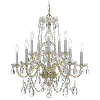 Traditional Crystal 10 Light 26 inch Polished Brass Chandelier Ceiling Light in Swarovski Spectra (SAQ), Polished Brass (PB)