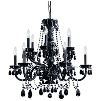 Crystorama Traditional Crystal 12 Light Chandelier in Black with Hand Cut Crystals 1135-BK-BK-MWP
