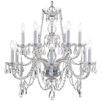 Crystorama Traditional Crystal 12 Light Chandelier in Polished Chrome, Italian Crystals 1135-CH-CL-I