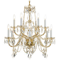Traditional Crystal 12 Light 31 inch Polished Brass Chandelier Ceiling Light