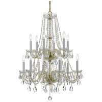 Crystorama 1137-PB-CL-SAQ Traditional Crystal 12 Light 26 inch Polished Brass Chandelier Ceiling Light in Swarovski Spectra (SAQ) Polished Brass (PB)