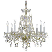Crystorama Traditional Crystal 8 Light Chandelier in Polished Brass with Swarovski Spectra Crystals 1138-PB-CL-SAQ