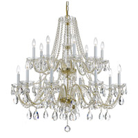Crystorama 1139-PB-CL-SAQ Traditional Crystal 16 Light 37 inch Polished Brass Chandelier Ceiling Light in Swarovski Spectra (SAQ) Polished Chrome
