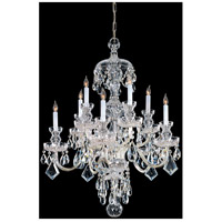 Traditional Crystal 10 Light 28 inch Polished Brass Chandelier Ceiling Light in Polished Brass (PB), Clear Swarovski Strass