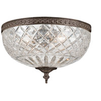 Signature 3 Light 12 inch English Bronze Flush Mount Ceiling Light