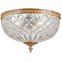 Signature 3 Light 12 inch Olde Brass Flush Mount Ceiling Light in Olde Brass (OB), 12-in Width