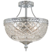 Crystorama 118-10-CH Signature 3 Light 10 inch Polished Chrome Semi Flush Mount Ceiling Light in Polished Chrome (CH), 10-in Width