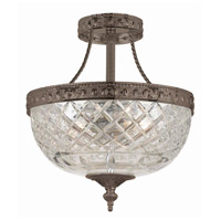 Crystorama 118-10-EB Signature 3 Light 10 inch English Bronze Semi Flush Mount Ceiling Light in English Bronze (EB), 10-in Width