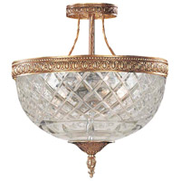 Crystorama 118-10-OB Signature 3 Light 10 inch Olde Brass Semi Flush Mount Ceiling Light in Olde Brass (OB), 10-in Width