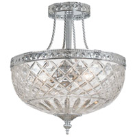 Crystorama 118-12-CH Signature 3 Light 12 inch Polished Chrome Semi Flush Mount Ceiling Light in Polished Chrome (CH), 12-in Width