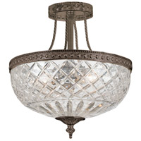 Crystorama Richmond 3 Light Semi-Flush Mount in English Bronze 118-12-EB