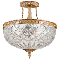 Crystorama Signature 3 Light Semi Flush Mount in Olde Brass, 12-in Width 118-12-OB