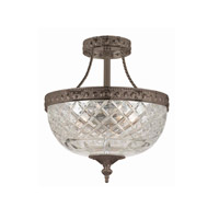 Crystorama Richmond 2 Light Semi-Flush Mount in English Bronze 118-8-EB