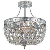 Crystorama 119-10-CH-CL-SAQ Signature 3 Light 10 inch Polished Chrome Semi Flush Mount Ceiling Light in Swarovski Spectra (SAQ), Polished Chrome (CH), 10-in Width