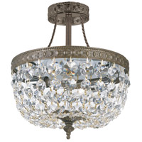 Crystorama Richmond 3 Light Semi-Flush Mount in Antique Brass with Hand Cut Crystals 119-10-EB-CL-MWP