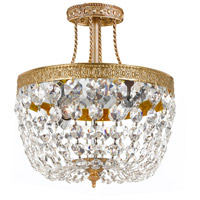 Crystorama 119-10-OB-CL-SAQ Signature 3 Light 10 inch Olde Brass Semi Flush Mount Ceiling Light in Swarovski Spectra (SAQ), Olde Brass (OB), 10-in Width