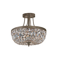 Signature 3 Light 12 inch English Bronze Semi Flush Mount Ceiling Light in English Bronze (EB), Clear Hand Cut, 12-in Width