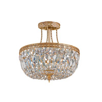 Crystorama Signature 3 Light Semi Flush Mount in Olde Brass, Swarovski Spectra, 12-in Width 119-12-OB-CL-SAQ