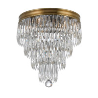 Crystorama Chloe 3 Light Flush Mount in Aged Brass with Hand Cut Crystals 125-AG