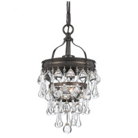 Crystorama Calypso 1 Light Flush Mount in Vibrant Bronze with Glass Ball Crystals 131-VZ