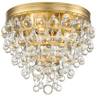 Calypso 3 Light 10 inch Vibrant Gold Flush Mount Ceiling Light