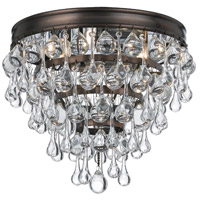 Crystorama Calypso 3 Light Flush Mount in Vibrant Bronze 135-VZ