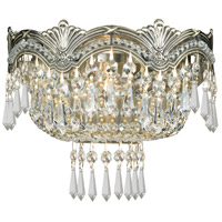 Crystorama 1480-HB-CL-SAQ Majestic 2 Light 10 inch Historic Brass Wall Sconce Wall Light in Swarovski Spectra (SAQ)