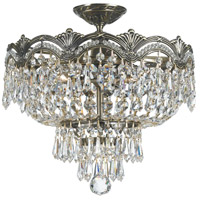 Majestic 3 Light 14 inch Historic Brass Semi Flush Mount Ceiling Light in Italian Crystals (I)
