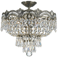Majestic 3 Light 14 inch Historic Brass Semi Flush Mount Ceiling Light in Clear Swarovski Strass