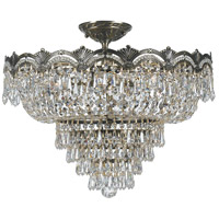 Majestic 5 Light 22 inch Historic Brass Semi Flush Mount Ceiling Light in Clear Swarovski Strass