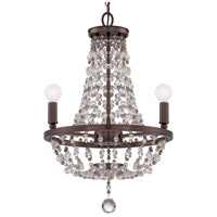 Crystorama Channing 3 Light Mini Chandelier in Chocolate Bronze with Hand Cut Crystals 1543-CB-MWP