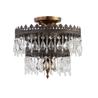 Crystorama Alhambra 3 Light Semi-Flush Mount in Fiesta with Hand Polished Crystals 1593-FA