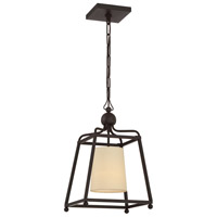 Sylvan 1 Light 12 inch Dark Bronze Pendant Ceiling Light in Dark Bronze (DB), Flax Linen