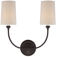 Crystorama 2242-DB Sylvan 2 Light 16 inch Dark Bronze Wall Sconce Wall Light in Dark Bronze (DB), Flax Linen