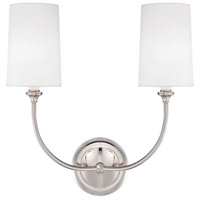 Sylvan 2 Light 16 inch Polished Nickel Wall Sconce Wall Light in Polished Nickel (PN), White Linen