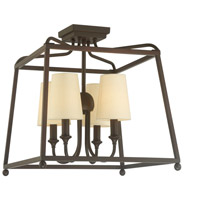 Sylvan 4 Light 16 inch Dark Bronze Semi Flush Mount Ceiling Light in Dark Bronze (DB), Flax Linen