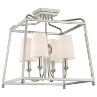 Sylvan 4 Light 16 inch Polished Nickel Semi Flush Mount Ceiling Light in Polished Nickel (PN), Flax Linen