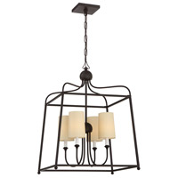 Crystorama 2244-DB Sylvan 4 Light 22 inch Dark Bronze Chandelier Ceiling Light in Dark Bronze (DB), Flax Linen